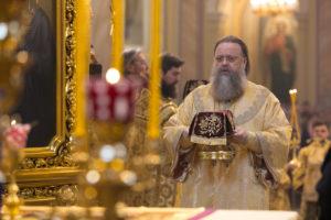 Божественная литургия в кафедральном соборе Рождества Пресвятой Богородицы в день памяти святителя Димитрия Ростовского
